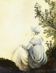 Watercolor by Cassandra Austen, c. 1804